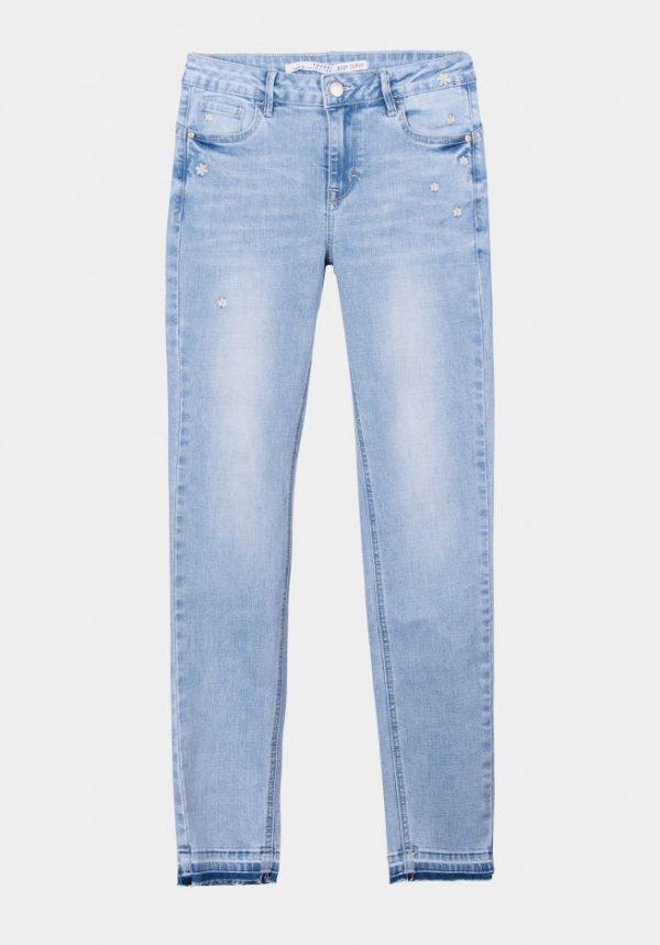 Pantalón Body Curve Azul Claro Bordados