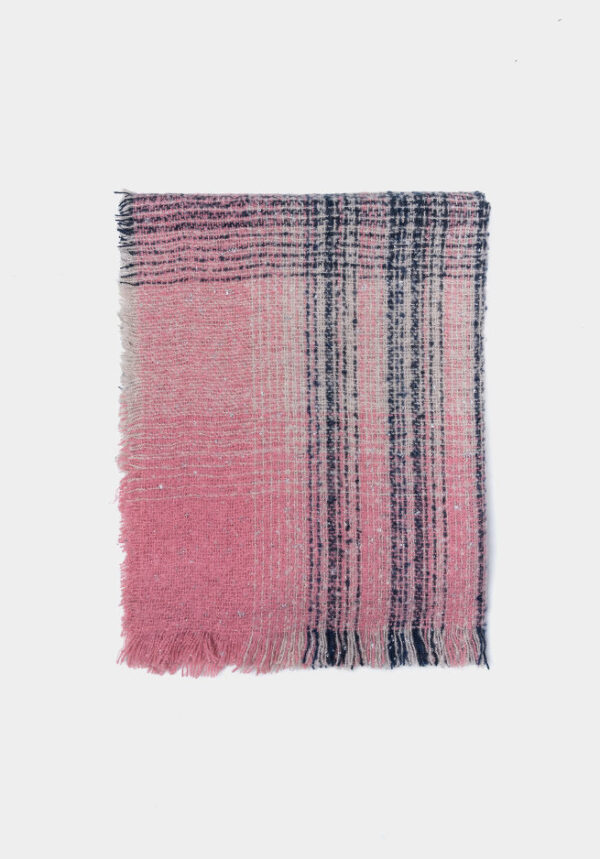 Bufanda rosa y marino rallada